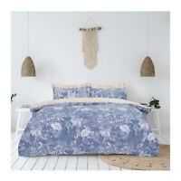 Blue Leaf Duvet Cover Set Single Double SuperKing Size Reversible Floral Bedding