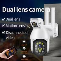 Wireless WIFI IP Camera Dual Lens CCTV PTZ Smart Home Security IR Cam 1080P HD
