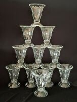 Vintage Heavy Ribbed Clear Glass Parfait/Sundae Glass Set of 11 w Pedestal Base