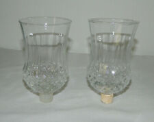 """2 Clear Glass Diamond Ribbed Peg Votive Cup Candle Holders Homco 5 1/4"""" T"""