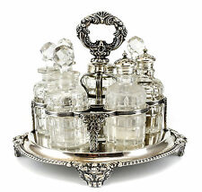 8pc. Continental Silverplate & Crystal Condiment Caddy, 19th Century