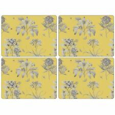 Pimpernel Etchings and Roses Placemats Wood Yellow Small Set of 4