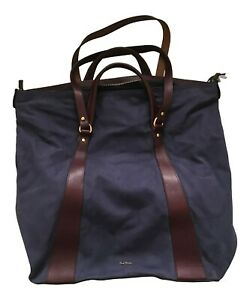 Paul Smith Ladies Blue Suede Large Tote bag with burgundy tan leather + Stow Bag