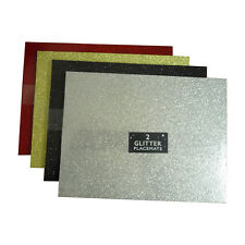Glitter Placemats or Coasters Gold Silver Black Red Christmas Table Decoration
