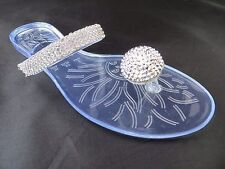 "New Jelly Sandal ""Milan"" Rhinestone Button Thong Flip Flop - Ann More Shoes"