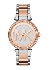 Michael Kors MK6314 Parker Rose Gold Silver Two Tone Logo Dial 39MM AUTHENTIC