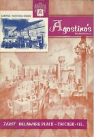 Vintage AGOSTINO'S Restaurant Menu, Chicago Illinois 1962