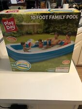 Play Day 10 Foot Deluxe Family Swimming Pool Blue And White New In Box