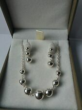 QVC STERLING SILVER BALL NECKLACE AND EARRING SET.