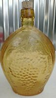 Vintage Empire Glass Works Hand Blown Amber Yellow Glass Bottle eagle grapes