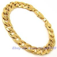 "9.4""8mm20g REAL MEN 18K YELLOW GOLD GP BRACELET SOLID FILL CURB CHAIN 4134bxl"