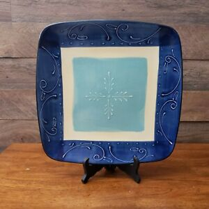"""Crate and Barrel TANGO Blue Embossed 13"""" Square Serving Platter/Plate Portugal"""