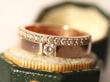 Sterling silver 9ct rose gold plated cubic zirconia ring size N