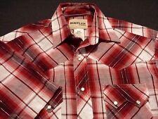 Wrangler Rustler Mens Small Short Sleeve Pearl Snap Red Plaid Western Shirt