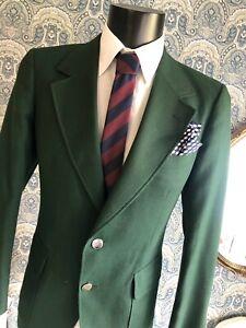 Men's Vtg RARE 80s Aquascutum Green Preppy Mod Club Blazer Suit Jacket Medium 40