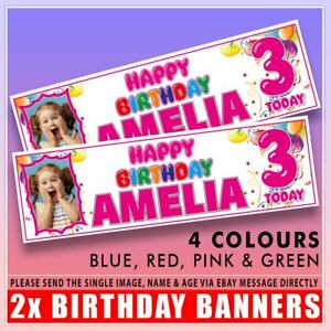 """2x PERSONALISED PHOTO BIRTHDAY BANNERS  1st 2nd 3rd 4th 5th 6th BALLOONS 36x11"""""""