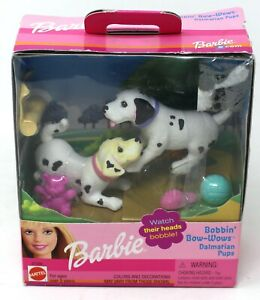 BARBIE BOBBIN BOW WOWS DALMATION PUPS DOGS PUPPY FIGURE SET MATTEL