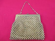 Vtg Whiting & Davis Gold Brass Metal Faceted Bead Purse Chain Handle c.1940's