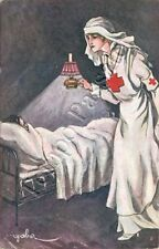 Prima guerra mondiale, Croce Rossa - Infermiera che veglia / illustratore Golia