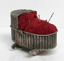 DELIGHTFUL STERLING SILVER MINI BASSINET PIN CUSHION 1837 DUTCH AMSTERDAM EXPORT