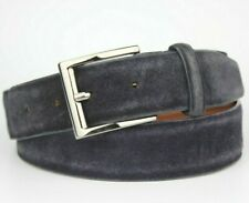 """Dark Blue Sueded Leather Belt Silver Buckle Made in Italy Fits 32"""" Pants"""