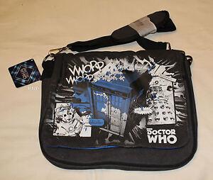 BBC Doctor Who Tardis Vintage Black Printed Messenger Shoulder Satchel Bag New