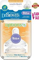 Dr Brown's Options Level 4 Teats 9M+ Baby Wide Neck Anti Colic Soft Silicone New