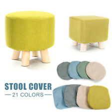 Soft Square Wooden Wood Footstool Ottoman Pouffe Chair Stool Lien Cotton Cover