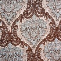 """Heavy Rustic Damask Tapestry Upholstery Fabric Turquoise Brown 54"""" By The Yard"""