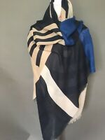 New and Authentic Marella by Max Mara Navy Geometric Print Stole, MSRP $125.00