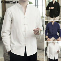 Men's Cotton Linen Long Sleeve Tops Chinese Causal Fit Kung Fu Blouse Yoga Tops
