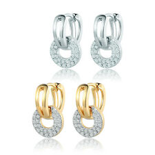 HUCHE Fashion Clear Topaz Sapphire Crystal 18K Gold Filled Women Lady Earrings