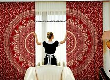 Indian Gold Ombre Mandala 100% Cotton Tab Top Curtain Panel Tapestry Curtains