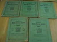 24459  5x Sachsens Militär Vereins Kalender Jahrbuch 1907 1908 1910 1911 1912