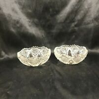 "Pair of Vintage Clear Glass 4"" Diamond Star Dessert Bowls Sawtooth Edge"