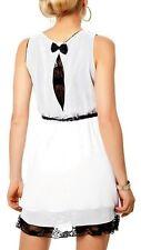 SeXy Miss Mini Kleid Chiffon Spitze Dress 34/36/38 Flecht Gürtel weiß schwarz