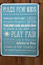 "RETRO DISTRESSED LOOK METAL ""RULES FOR KIDS"" SIGN  WITH EMBOSSED WHITE LETTERING"