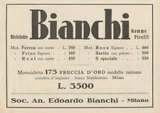 Z1119 Biciclette e Motocicletta BIANCHI - Pubblicità d'epoca - 1933 Old advert