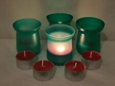 GREEN COLOURED TEA LIGHT GLASS CANDLE HOLDERS WITH SCENTED CANDLES