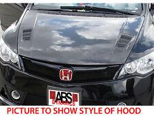 2006 2011 JDM FD1 Honda Civic Mugen RR Style Hood Unpainted Black Fiberglass
