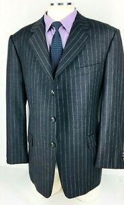 42R Hickey Freeman Mens 3 Button Wool Blazer Jacket Pencil Stripe Gray Mint!
