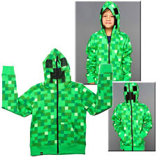 Minecraft Creeper Kids Boys Youth Hoodie Zip-Up Coat Sweater Jacket Gift