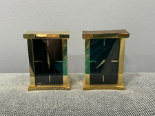 Vintage 1990's Movado Black Face Brass Pair of Desk Mantel Shelf Clocks