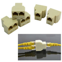 5 X 3 Sockets RJ45 6 LAN Ethernet Splitter Adapter Internet Connector Cable New
