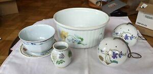 Haviland Limoges 6 Piece Set - Souffle Dish,Cup/Saucer, 2x Pomanders, Bud Vase