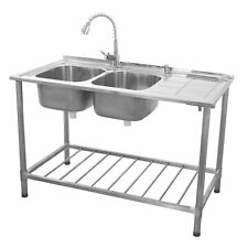 Stainless Steel Sink Catering Kitchen Commercial Double Bowl Right Hand B1373