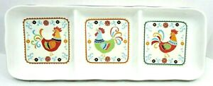 2010 SUZANI ROOSTER 3 SECTION DIVIDED SERVING DISH 222 FIFTH PTS INTERNATIONAL