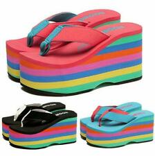 Women's Rainbow Flip Flops Wedges High Heels Sandals Beach Shoes Creepers New