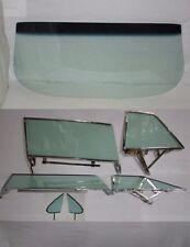 1962 CHEVROLET PONTIAC 2 DR HARDTOP WINDSHIELD & ASSEMBLED SIDE GLASS SET GREEN