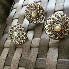 Solid Silver Oxidized Vintage Design Earrings Ring & Studs Eithiopian  Fire Opal